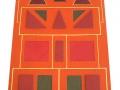 Travail de mosaïques géométriques en creux, à niveau en relief