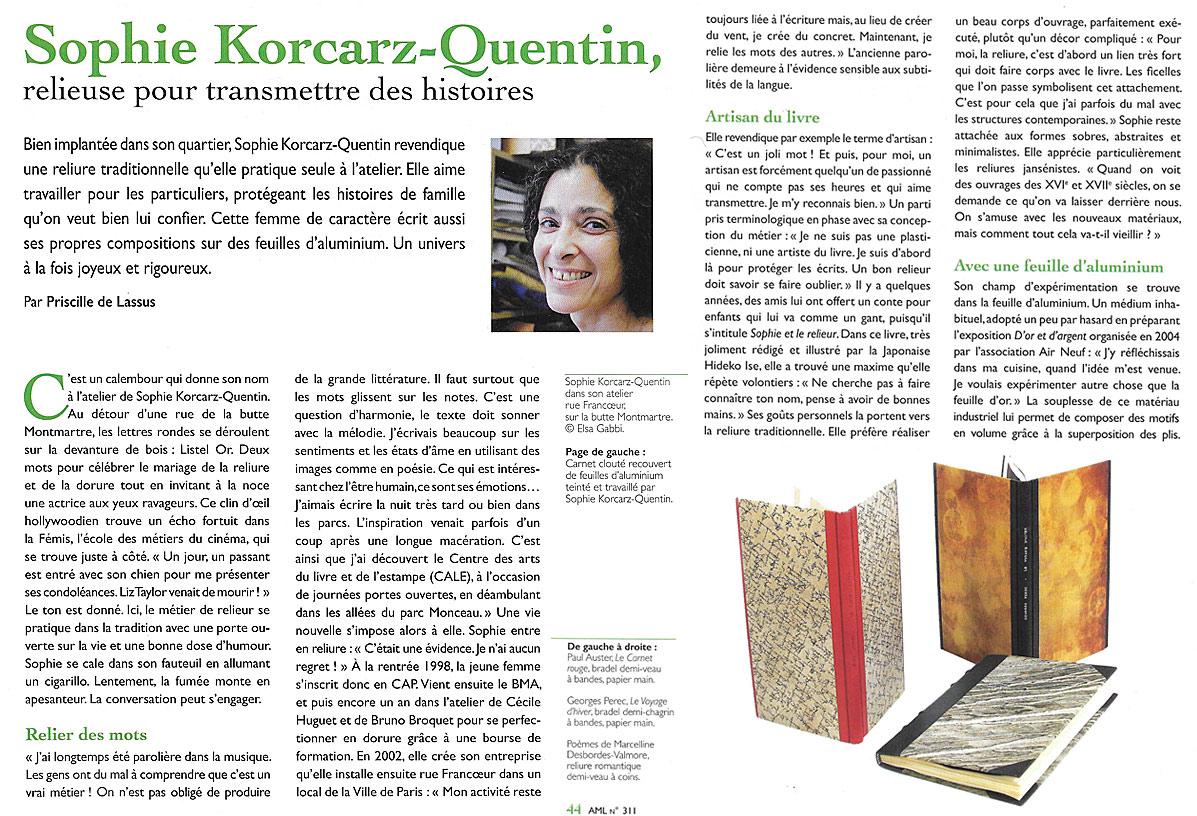 Sophie Korcarz-Quentin Atelier de reliure Listel Or à Paris 18