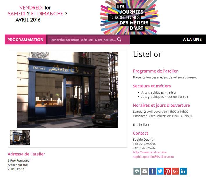 Listel Or Sophie Quentin journées européennes des métiers d'art